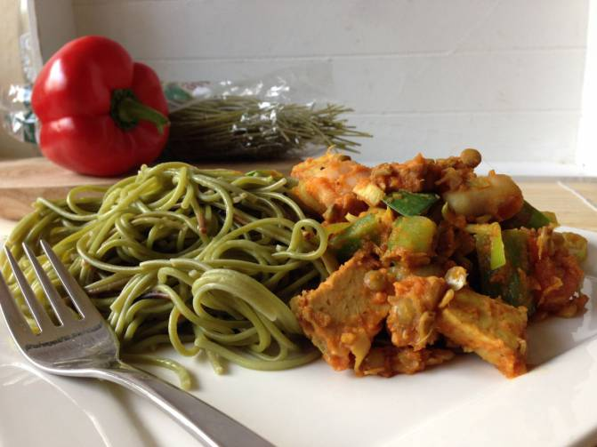 spinazie spaghetti mooi