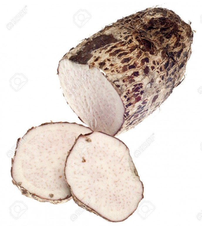 9797525-Taro-Root-Yam-Vegetable-Isolated-on-White-with-a-Clipping-Path--Stock-Photo